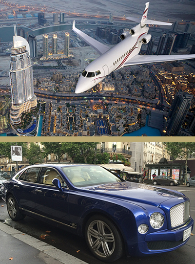 All types of means of transport: private jet, helicopter, luxury car, yacht