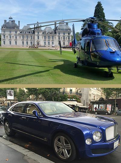 Services pour déplacement jet privé, hélicoptère, voiture de luxe